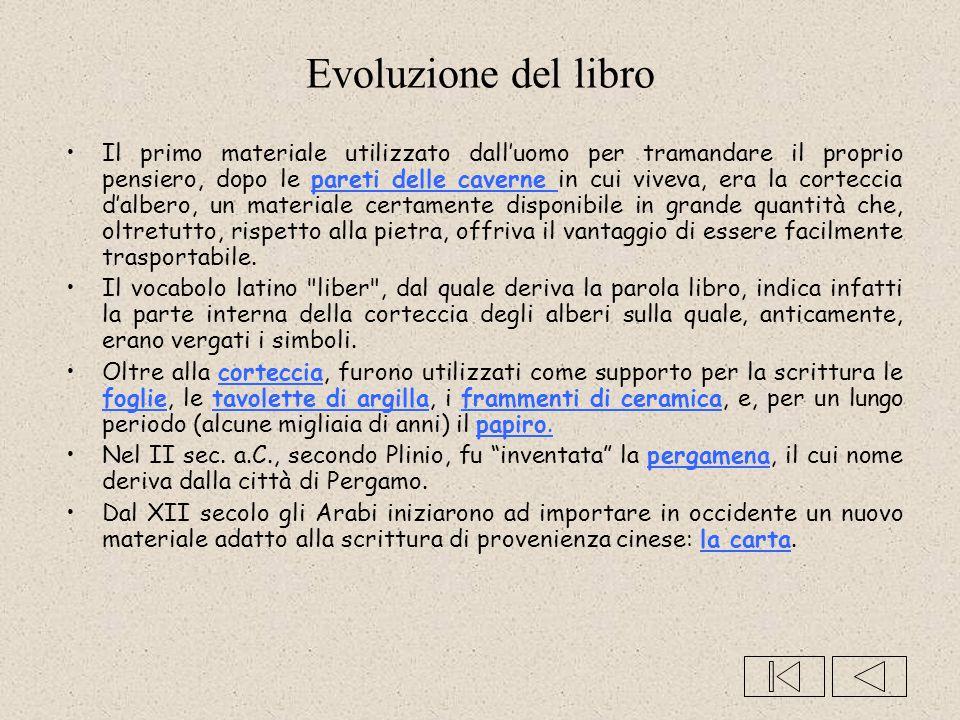 Evoluzione del libro Il primo materiale utilizzato dall'uomo per tramandare il proprio pensiero, dopo le pareti delle caverne in cui viveva, era la co