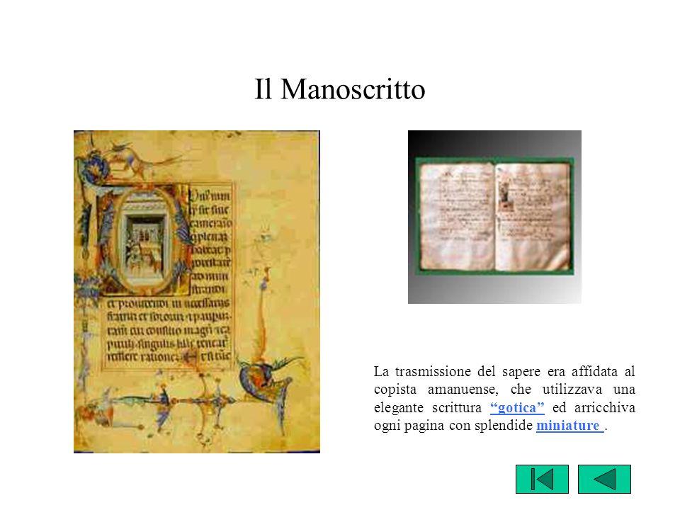 """Il Manoscritto La trasmissione del sapere era affidata al copista amanuense, che utilizzava una elegante scrittura """"gotica"""" ed arricchiva ogni pagina"""