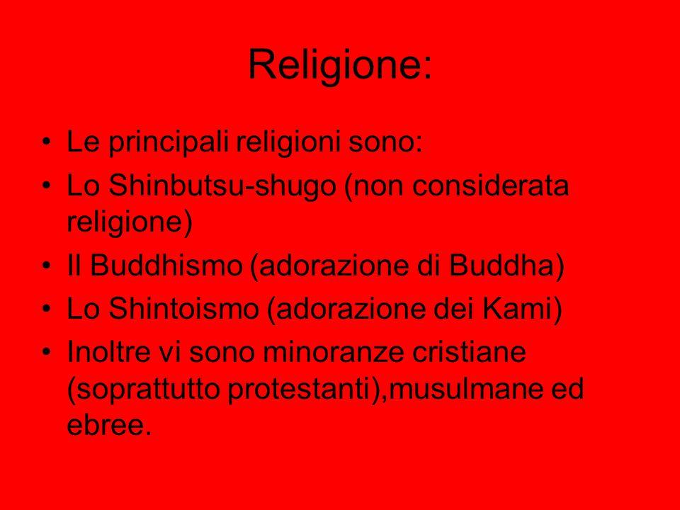 Religione: Le principali religioni sono: Lo Shinbutsu-shugo (non considerata religione) Il Buddhismo (adorazione di Buddha) Lo Shintoismo (adorazione