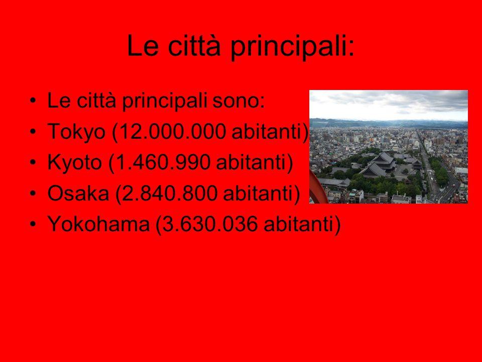 Le città principali: Le città principali sono: Tokyo (12.000.000 abitanti) Kyoto (1.460.990 abitanti) Osaka (2.840.800 abitanti) Yokohama (3.630.036 a