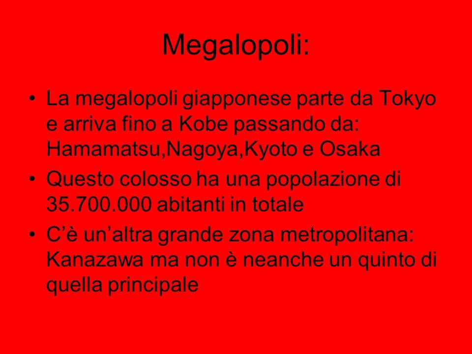 Megalopoli: La megalopoli giapponese parte da Tokyo e arriva fino a Kobe passando da: Hamamatsu,Nagoya,Kyoto e Osaka Questo colosso ha una popolazione