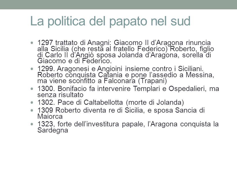 La politica del papato nel sud 1297 trattato di Anagni: Giacomo II d'Aragona rinuncia alla Sicilia (che resta al fratello Federico) Roberto, figlio di Carlo II d'Angiò sposa Jolanda d'Aragona, sorella di Giacomo e di Federico.