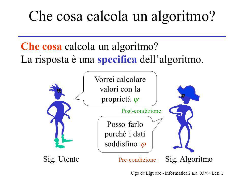 Ugo de Liguoro - Informatica 2 a.a. 03/04 Lez. 1 Che cosa calcola un algoritmo.