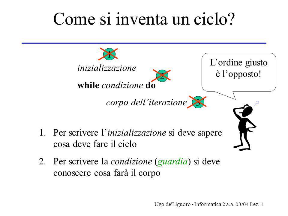 Ugo de Liguoro - Informatica 2 a.a. 03/04 Lez. 1 Come si inventa un ciclo.