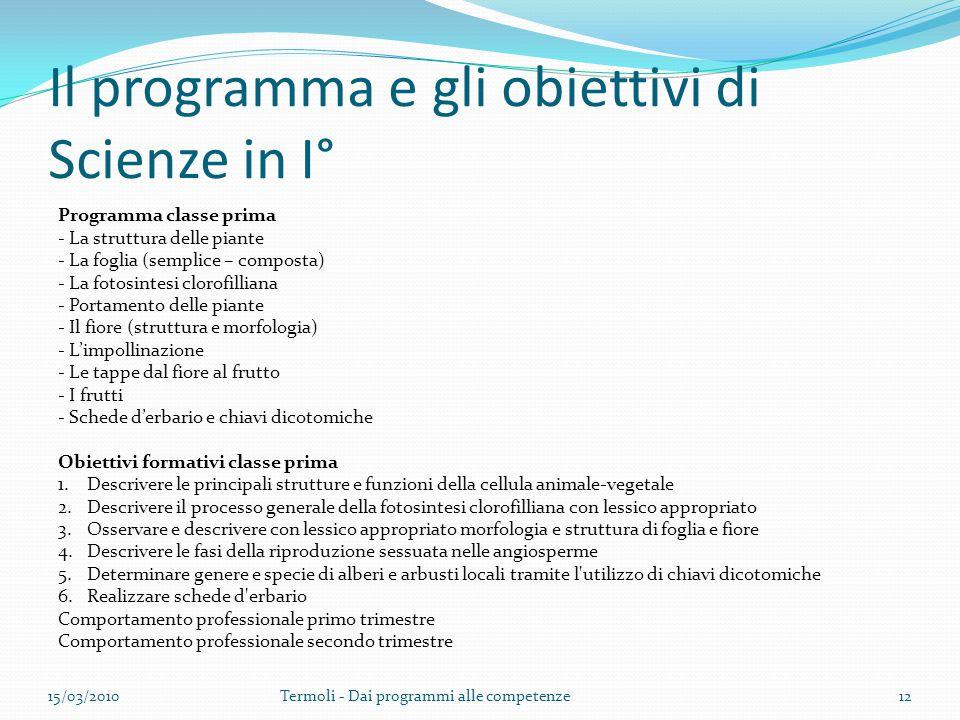 Il programma e gli obiettivi di Scienze in I° Programma classe prima - La struttura delle piante - La foglia (semplice – composta) - La fotosintesi cl