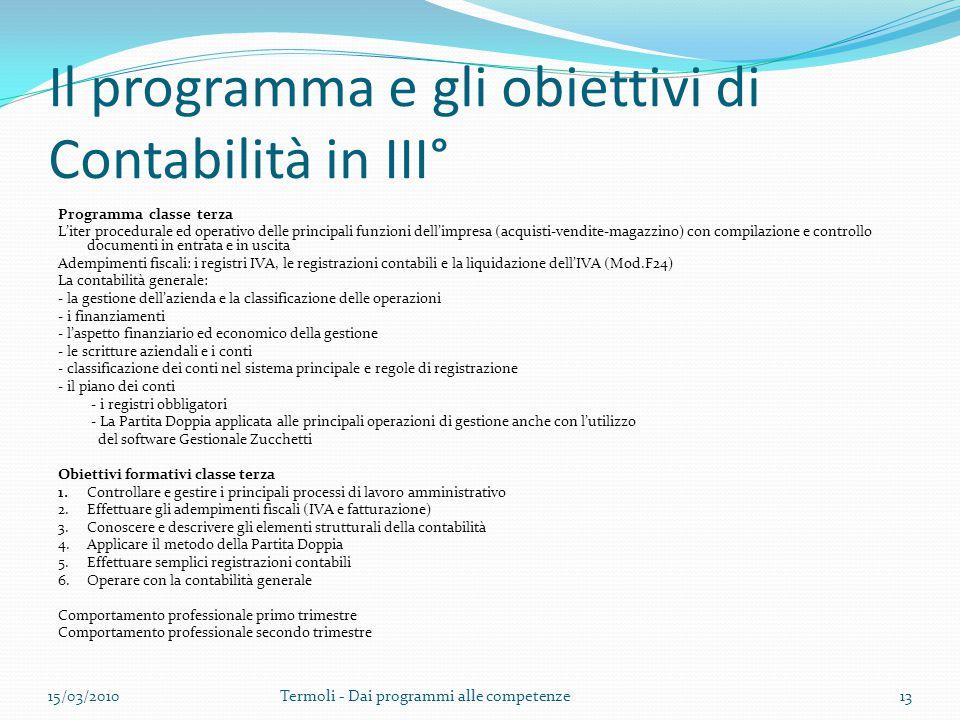 Il programma e gli obiettivi di Contabilità in III° Programma classe terza L'iter procedurale ed operativo delle principali funzioni dell'impresa (acq