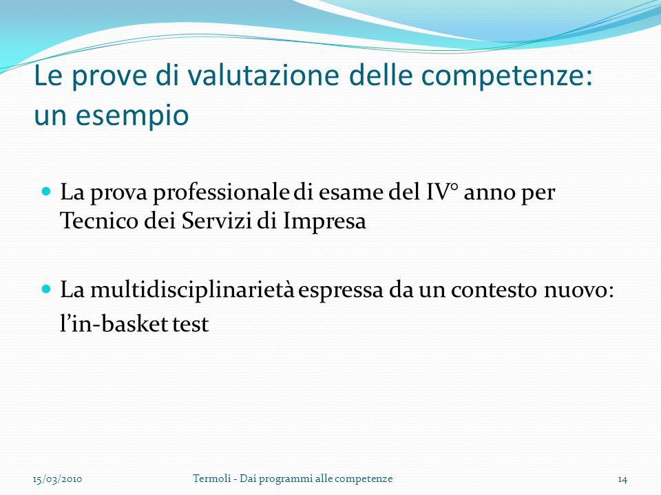Le prove di valutazione delle competenze: un esempio La prova professionale di esame del IV° anno per Tecnico dei Servizi di Impresa La multidisciplin