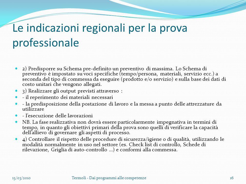 Le indicazioni regionali per la prova professionale 2) Predisporre su Schema pre-definito un preventivo di massima. Lo Schema di preventivo è impostat