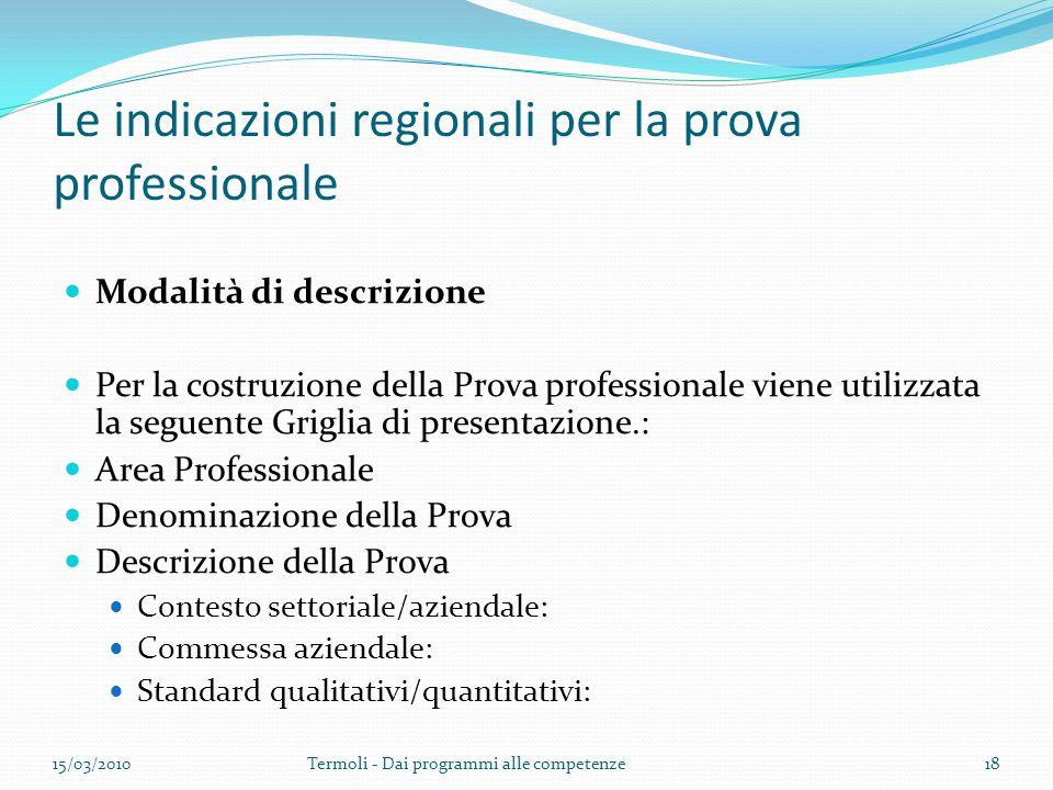 Le indicazioni regionali per la prova professionale Modalità di descrizione Per la costruzione della Prova professionale viene utilizzata la seguente