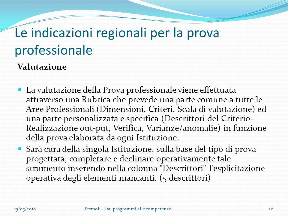 Le indicazioni regionali per la prova professionale Valutazione La valutazione della Prova professionale viene effettuata attraverso una Rubrica che p