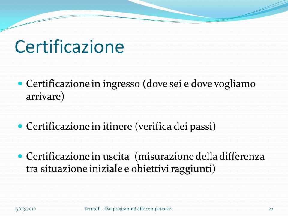 Certificazione Certificazione in ingresso (dove sei e dove vogliamo arrivare) Certificazione in itinere (verifica dei passi) Certificazione in uscita