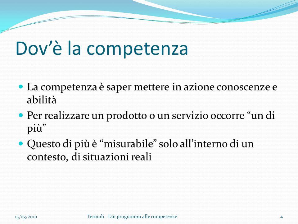 """Dov'è la competenza La competenza è saper mettere in azione conoscenze e abilità Per realizzare un prodotto o un servizio occorre """"un di più"""" Questo d"""