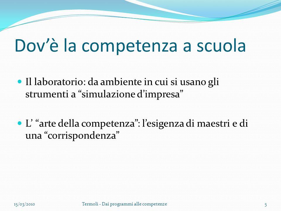 """Dov'è la competenza a scuola Il laboratorio: da ambiente in cui si usano gli strumenti a """"simulazione d'impresa"""" L' """"arte della competenza"""": l'esigenz"""