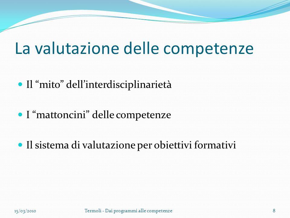 """La valutazione delle competenze Il """"mito"""" dell'interdisciplinarietà I """"mattoncini"""" delle competenze Il sistema di valutazione per obiettivi formativi"""