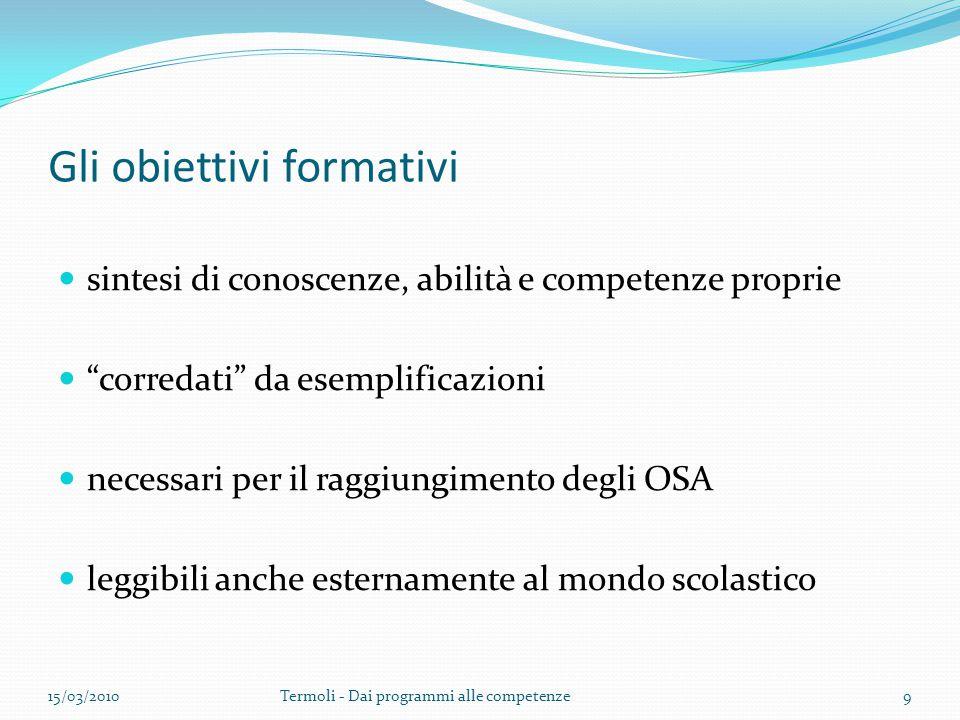 """Gli obiettivi formativi sintesi di conoscenze, abilità e competenze proprie """"corredati"""" da esemplificazioni necessari per il raggiungimento degli OSA"""