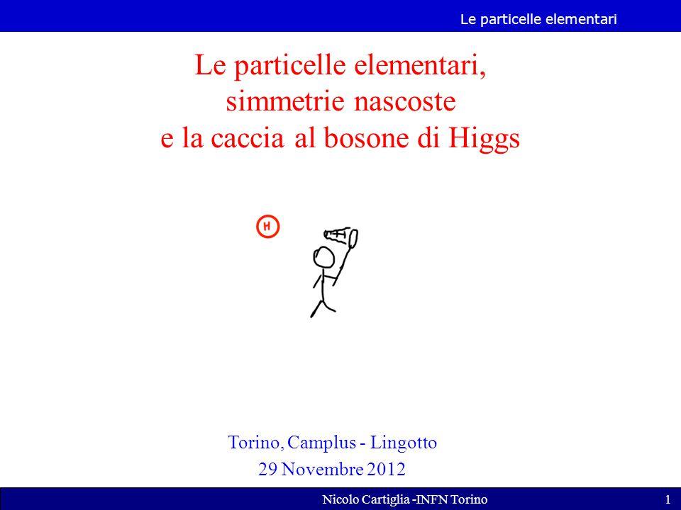Le particelle elementari Nicolo Cartiglia -INFN Torino1 Le particelle elementari, simmetrie nascoste e la caccia al bosone di Higgs Torino, Camplus - Lingotto 29 Novembre 2012
