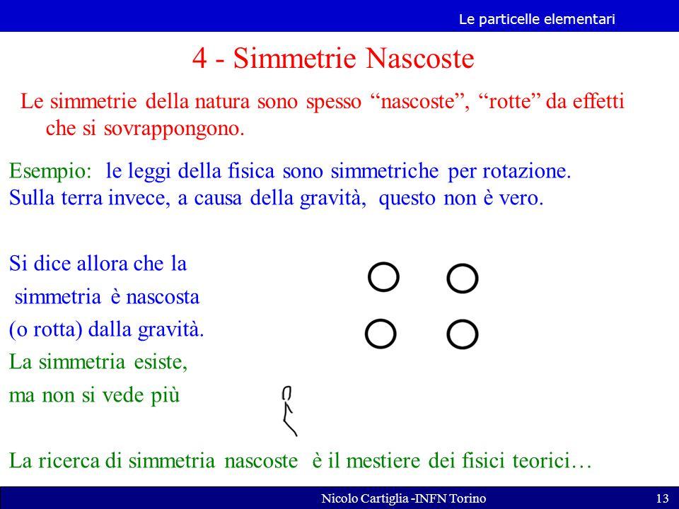 Le particelle elementari Nicolo Cartiglia -INFN Torino13 4 - Simmetrie Nascoste Le simmetrie della natura sono spesso nascoste , rotte da effetti che si sovrappongono.