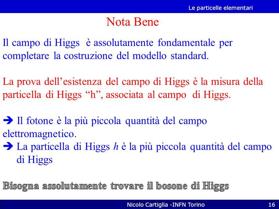 Le particelle elementari Nicolo Cartiglia -INFN Torino16 Nota Bene