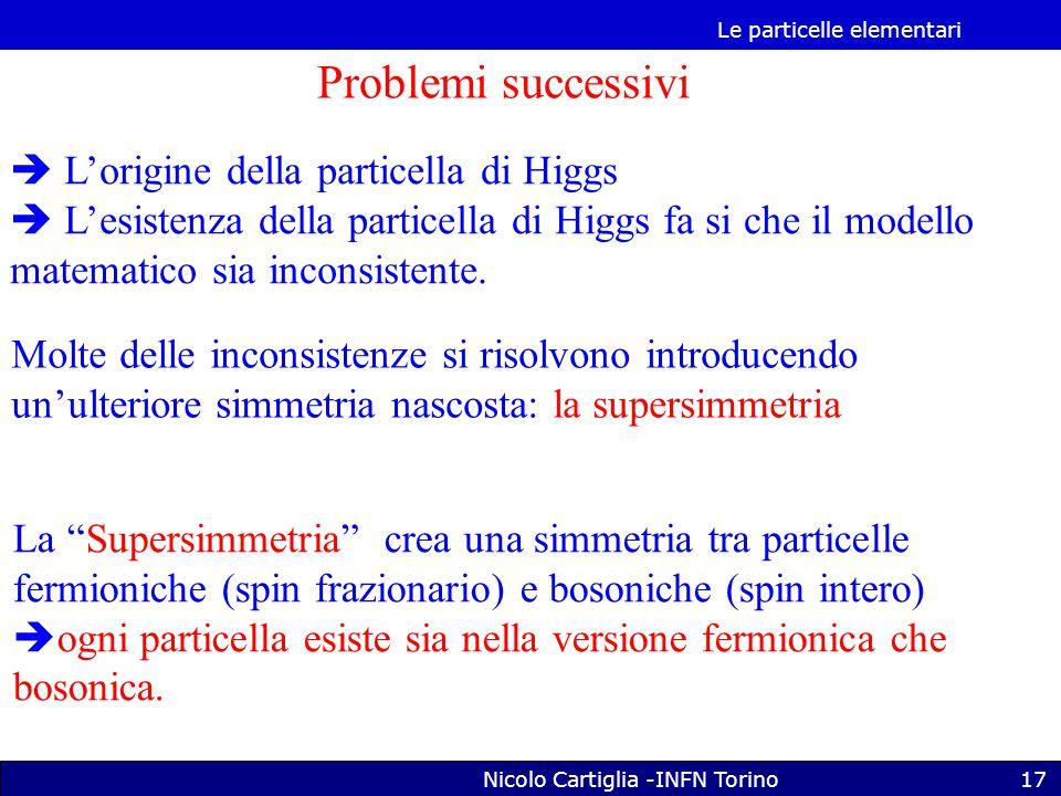 Le particelle elementari Nicolo Cartiglia -INFN Torino17 Problemi successivi  L'origine della particella di Higgs  L'esistenza della particella di Higgs fa si che il modello matematico sia inconsistente.