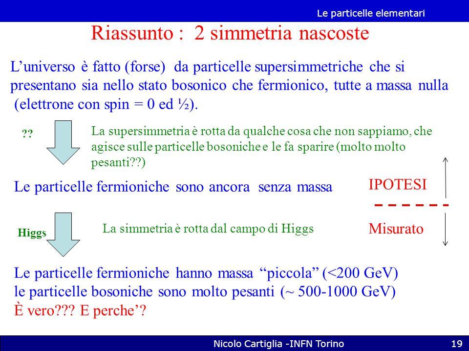 Le particelle elementari Nicolo Cartiglia -INFN Torino19 Riassunto : 2 simmetria nascoste L'universo è fatto (forse) da particelle supersimmetriche che si presentano sia nello stato bosonico che fermionico, tutte a massa nulla (elettrone con spin = 0 ed ½).
