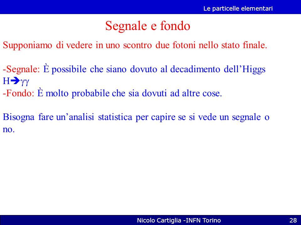 Le particelle elementari Nicolo Cartiglia -INFN Torino28 Segnale e fondo Supponiamo di vedere in uno scontro due fotoni nello stato finale.