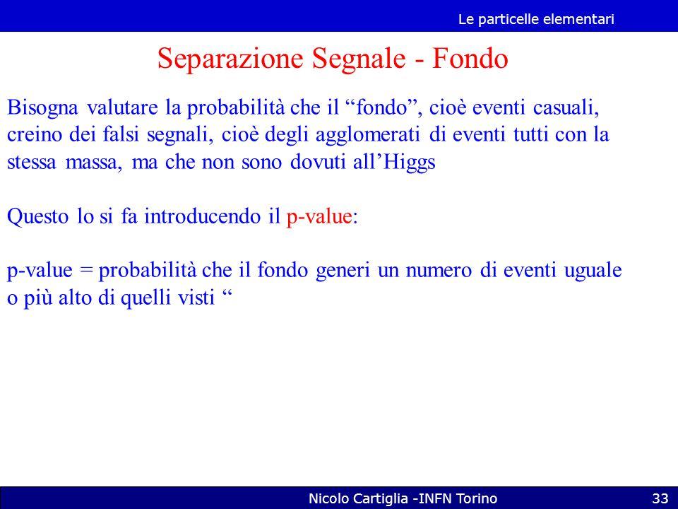 Le particelle elementari Nicolo Cartiglia -INFN Torino33 Separazione Segnale - Fondo Bisogna valutare la probabilità che il fondo , cioè eventi casuali, creino dei falsi segnali, cioè degli agglomerati di eventi tutti con la stessa massa, ma che non sono dovuti all'Higgs Questo lo si fa introducendo il p-value: p-value = probabilità che il fondo generi un numero di eventi uguale o più alto di quelli visti