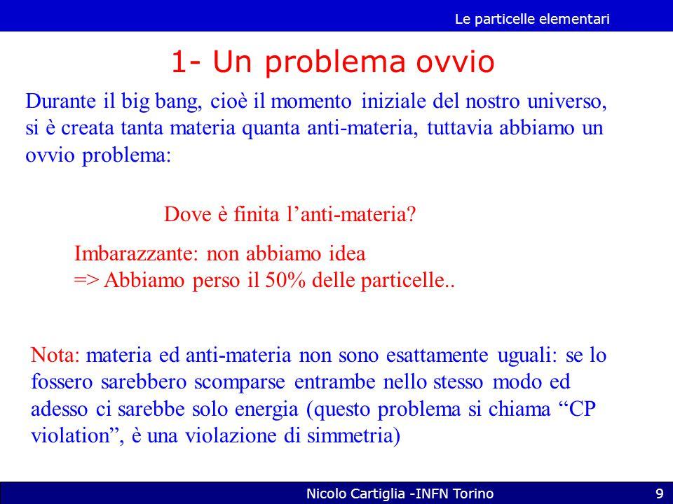 Le particelle elementari Nicolo Cartiglia -INFN Torino9 1- Un problema ovvio Durante il big bang, cioè il momento iniziale del nostro universo, si è creata tanta materia quanta anti-materia, tuttavia abbiamo un ovvio problema: Dove è finita l'anti-materia.