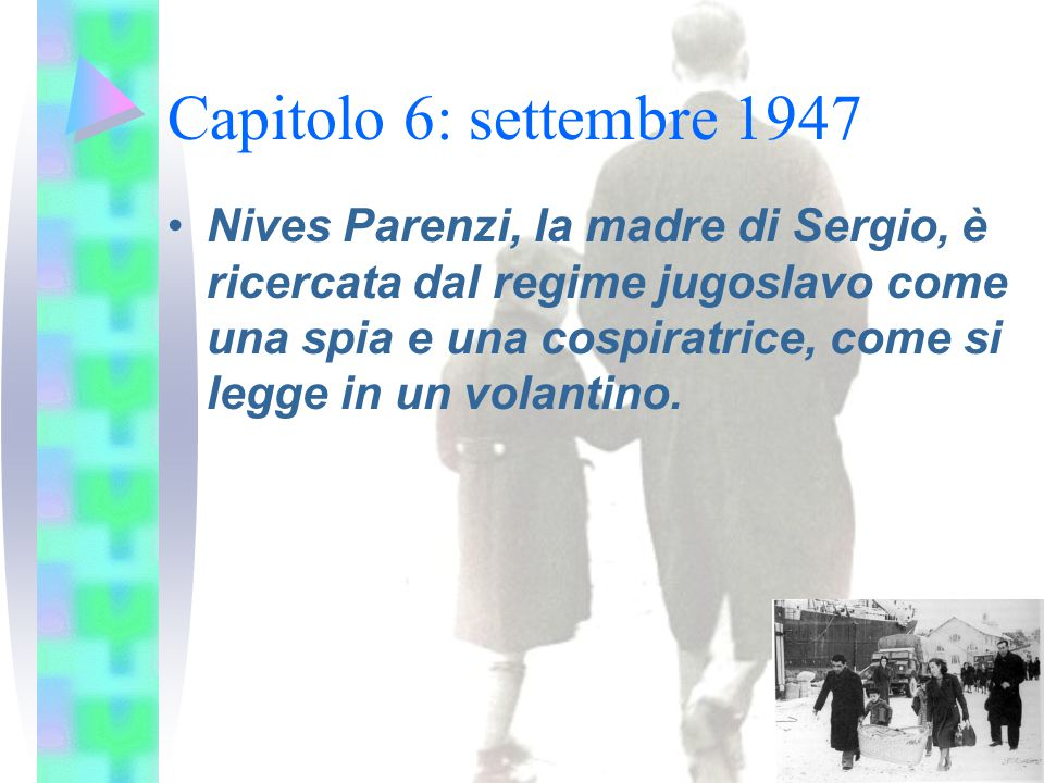 Capitolo 6: settembre 1947 Nives Parenzi, la madre di Sergio, è ricercata dal regime jugoslavo come una spia e una cospiratrice, come si legge in un volantino.