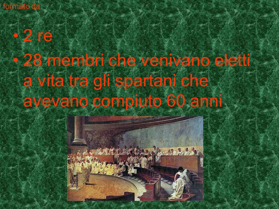 formato da: 2 re 28 membri che venivano eletti a vita tra gli spartani che avevano compiuto 60 anni