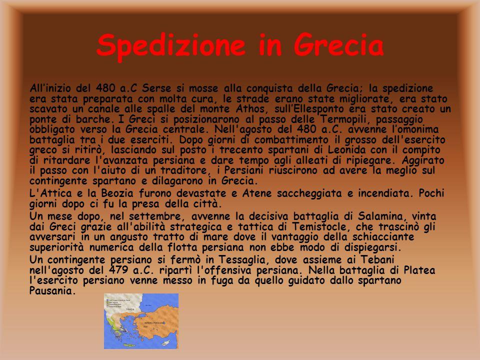 Spedizione in Grecia All'inizio del 480 a.C Serse si mosse alla conquista della Grecia; la spedizione era stata preparata con molta cura, le strade er