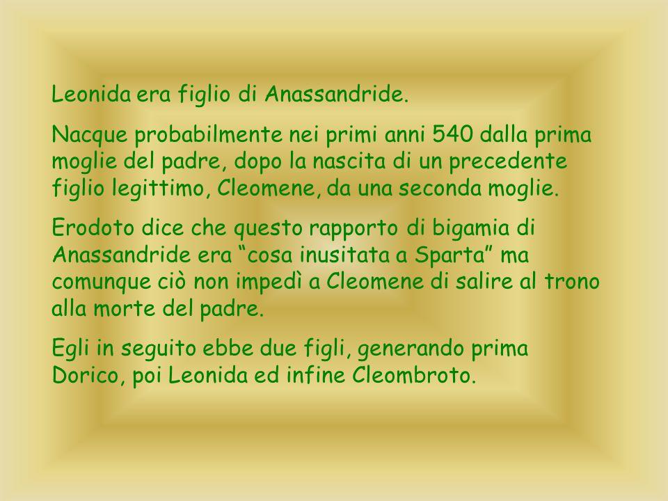 Leonida era figlio di Anassandride. Nacque probabilmente nei primi anni 540 dalla prima moglie del padre, dopo la nascita di un precedente figlio legi