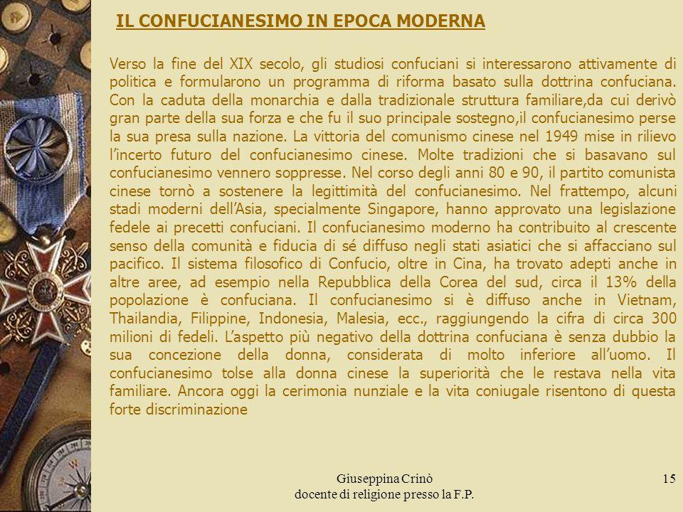 Giuseppina Crinò docente di religione presso la F.P. 15 IL CONFUCIANESIMO IN EPOCA MODERNA Verso la fine del XIX secolo, gli studiosi confuciani si in