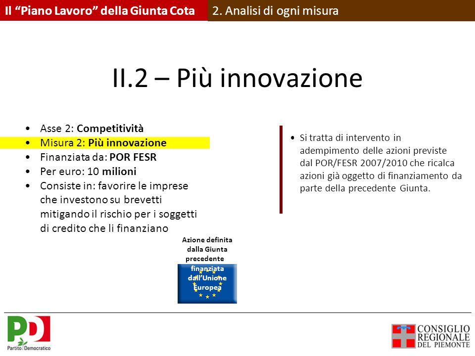 II.2 – Più innovazione Asse 2: Competitività Misura 2: Più innovazione Finanziata da: POR FESR Per euro: 10 milioni Consiste in: favorire le imprese che investono su brevetti mitigando il rischio per i soggetti di credito che li finanziano Si tratta di intervento in adempimento delle azioni previste dal POR/FESR 2007/2010 che ricalca azioni già oggetto di finanziamento da parte della precedente Giunta.