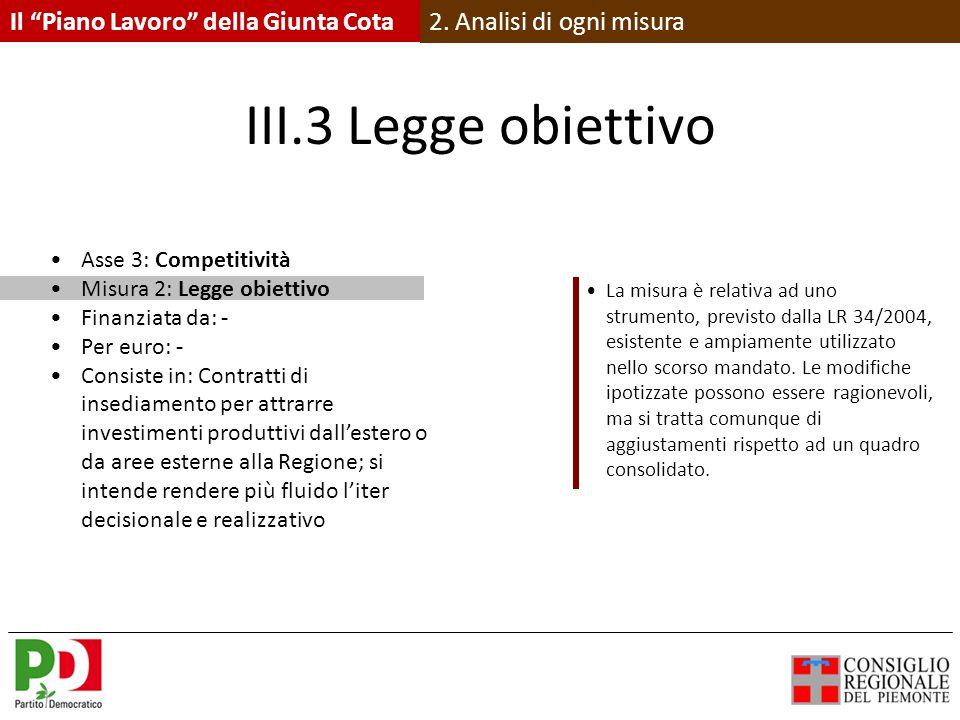 III.3 Legge obiettivo Asse 3: Competitività Misura 2: Legge obiettivo Finanziata da: - Per euro: - Consiste in: Contratti di insediamento per attrarre investimenti produttivi dall'estero o da aree esterne alla Regione; si intende rendere più fluido l'iter decisionale e realizzativo La misura è relativa ad uno strumento, previsto dalla LR 34/2004, esistente e ampiamente utilizzato nello scorso mandato.
