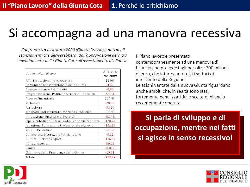 Si accompagna ad una manovra recessiva Il Piano lavoro è presentato contemporaneamente ad una manovra di bilancio che prevede tagli per oltre 700 milioni di euro, che interessano tutti i settori di intervento della Regione.