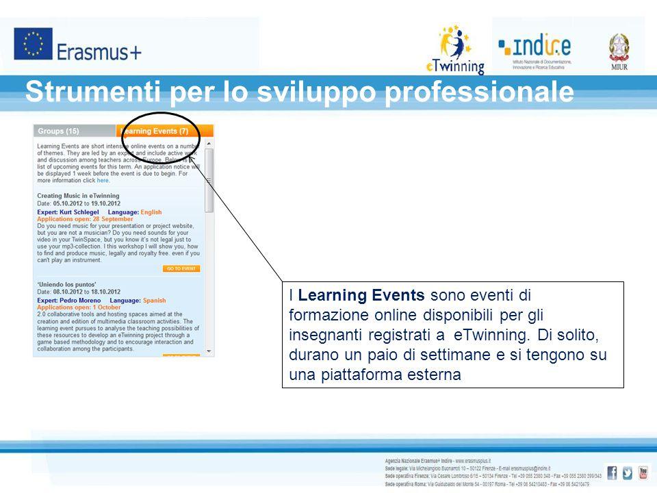 Strumenti per lo sviluppo professionale I Learning Events sono eventi di formazione online disponibili per gli insegnanti registrati a eTwinning. Di s