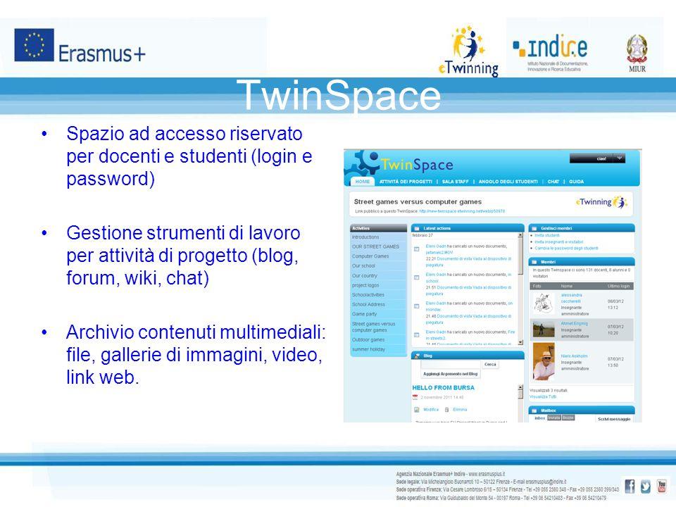 TwinSpace Spazio ad accesso riservato per docenti e studenti (login e password) Gestione strumenti di lavoro per attività di progetto (blog, forum, wi