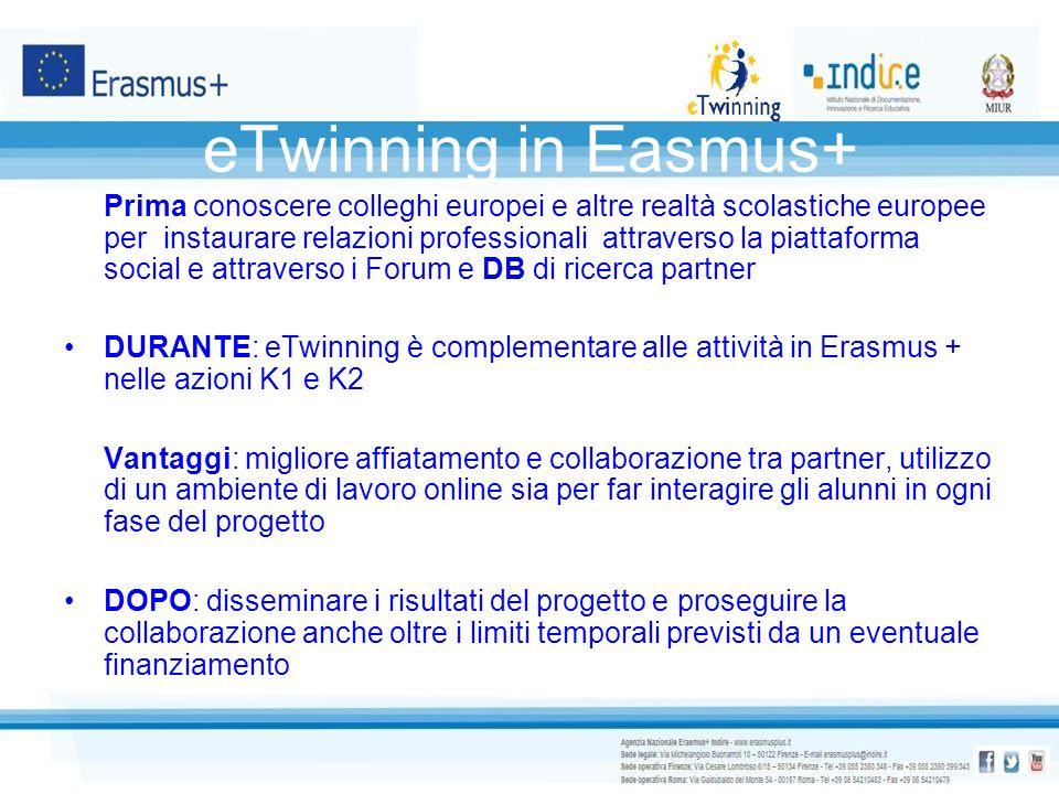 eTwinning in Easmus+ Prima conoscere colleghi europei e altre realtà scolastiche europee per instaurare relazioni professionali attraverso la piattafo