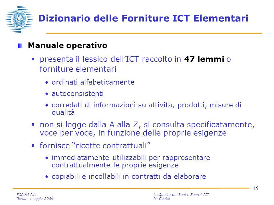 15 FORUM P.A. La Qualità dei Beni e Servizi ICT Roma - maggio 2004M.