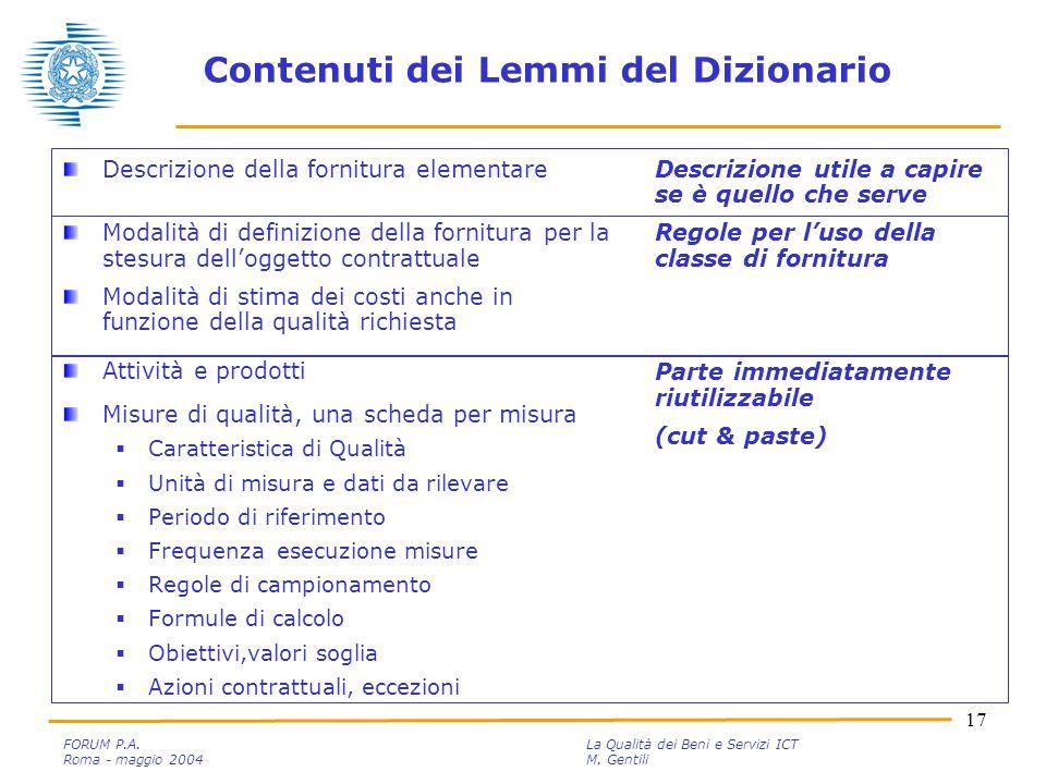 17 FORUM P.A. La Qualità dei Beni e Servizi ICT Roma - maggio 2004M.
