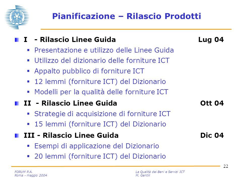 22 FORUM P.A. La Qualità dei Beni e Servizi ICT Roma - maggio 2004M.