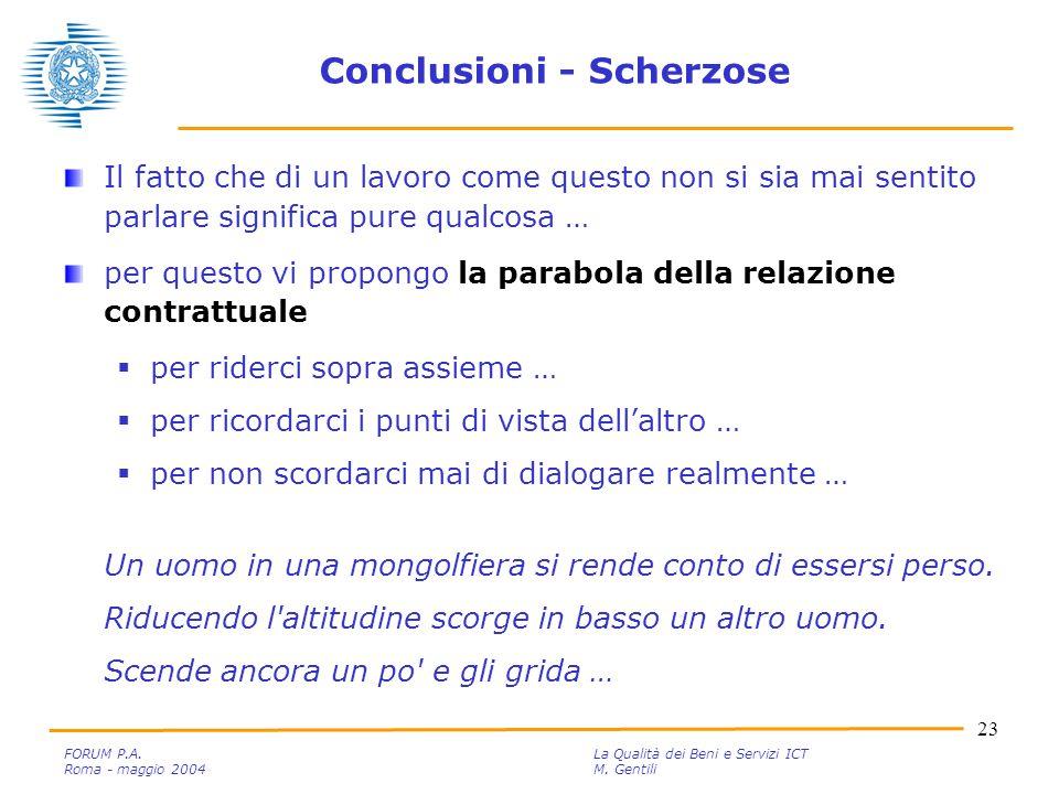 23 FORUM P.A. La Qualità dei Beni e Servizi ICT Roma - maggio 2004M.