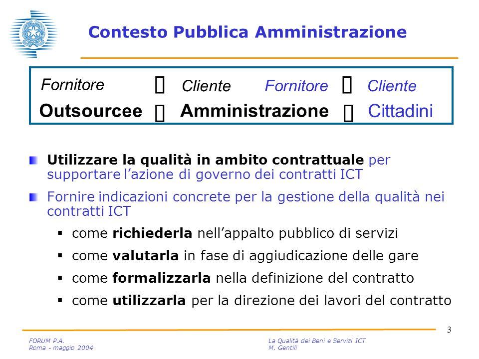 4 FORUM P.A.La Qualità dei Beni e Servizi ICT Roma - maggio 2004M.
