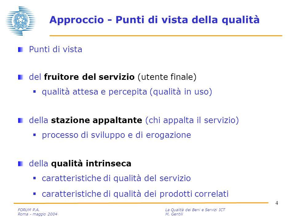 5 FORUM P.A.La Qualità dei Beni e Servizi ICT Roma - maggio 2004M.