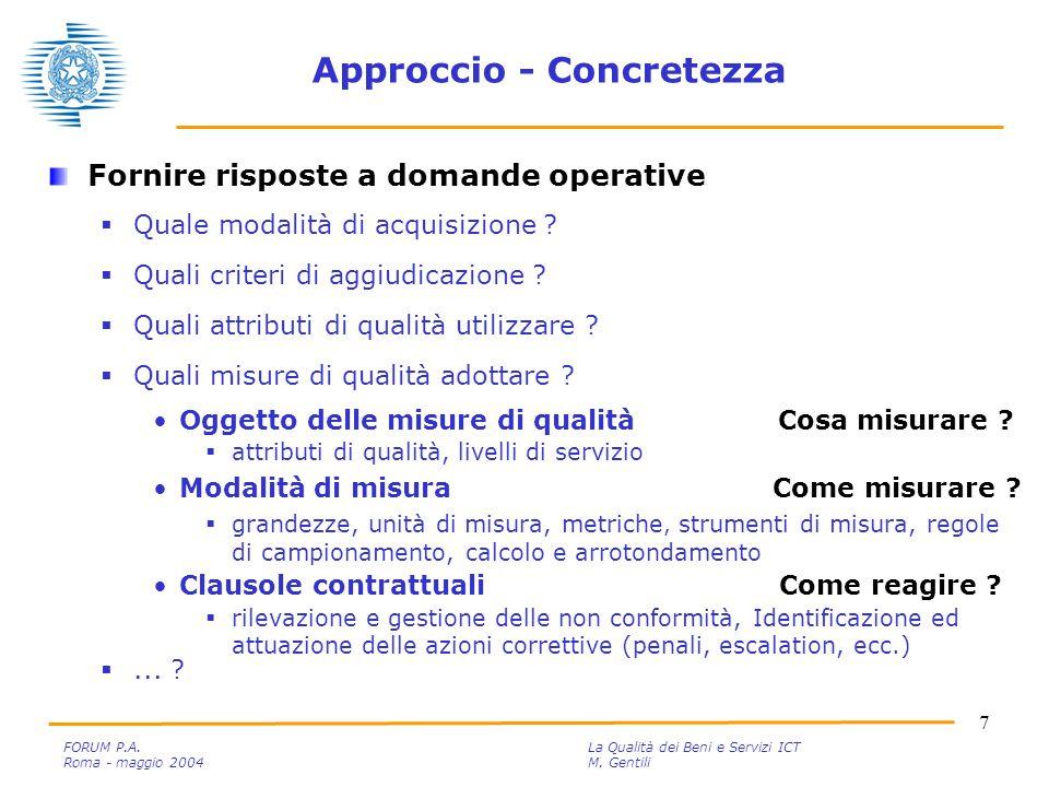 18 FORUM P.A.La Qualità dei Beni e Servizi ICT Roma - maggio 2004M.