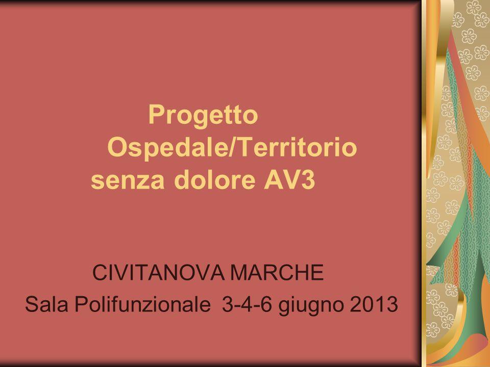 Progetto Ospedale/Territorio senza dolore AV3 CIVITANOVA MARCHE Sala Polifunzionale 3-4-6 giugno 2013