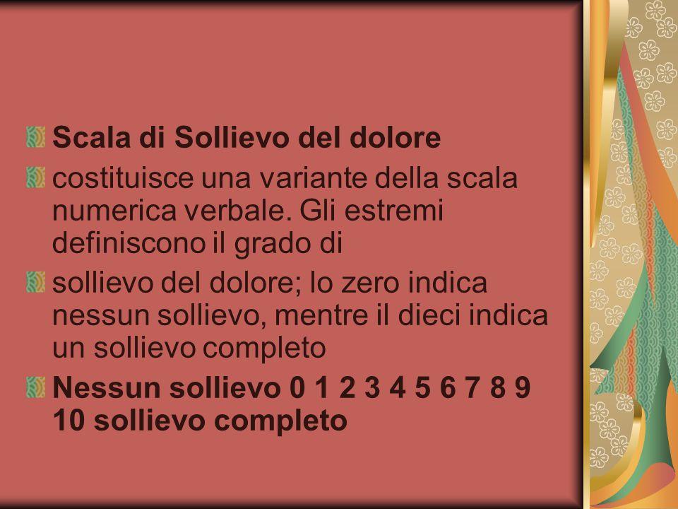 Scala di Sollievo del dolore costituisce una variante della scala numerica verbale.