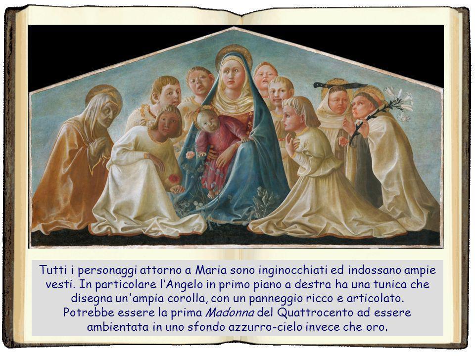 La tavola mostra una Madonna dell'Umiltà (Madonna col Bambino seduta in terra), circondata a esedra da sei Angeli