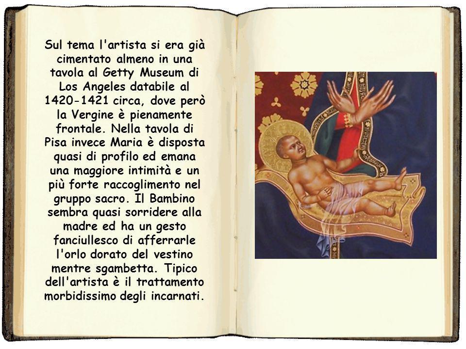 La Madonna dell'Umiltà, cioè seduta in terra su un cuscino, era un tema molto caro alla pittura del primo XV secolo. Maria è raffigurata in adorazione