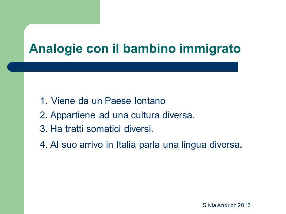 Silvia Andrich 2013 Analogie con il bambino immigrato 1. Viene da un Paese lontano 2. Appartiene ad una cultura diversa. 3. Ha tratti somatici diversi